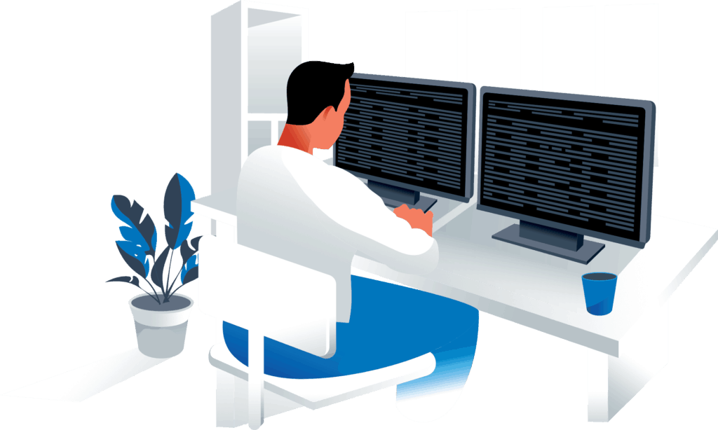 a man doing bath website design